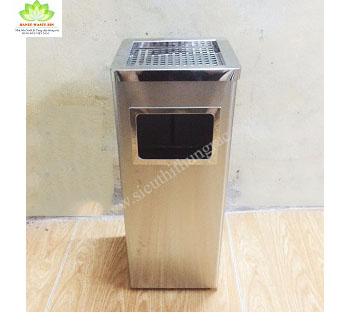 thùng rác inox gạt tàn vuôngA34B