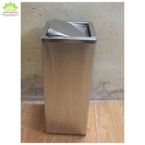 thùng rác inox lật vuông 240x240x620 mm