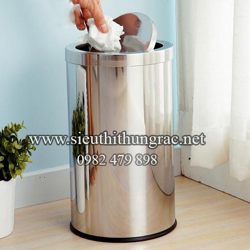 thùng rác inox nắp lật 380x730 mm