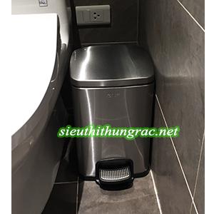 thùng rác inox đạp chân 8L vuông